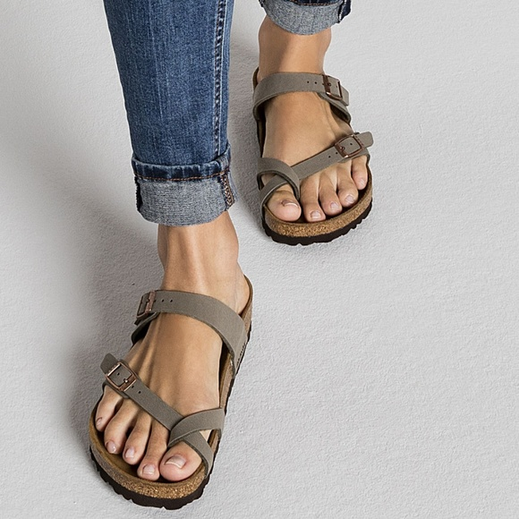 53b57dfa240ba9 Birkenstock Mayari Birko-Flor Nubuck stone sandal